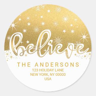 Believe Christmas Gold Handwritten Address Round Sticker