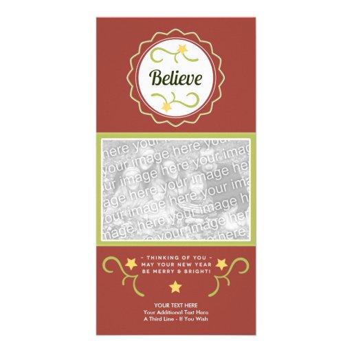 Believe Christmas Photo Card-Template-Folk Art