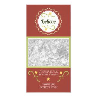 Believe Christmas Photo Card-Template-Folk Art Picture Card