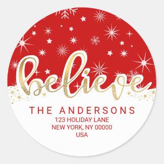 Believe Christmas Red Gold Script Return Address Round Sticker