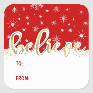 Believe Christmas Red Handwritten Gift Tag Sticker