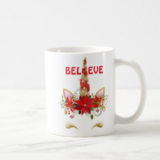 Believe Christmas Unicorn Coffee Mug