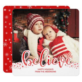 Believe Christmas Whimsical Script Square Die-cut 13 Cm X 13 Cm Square Invitation Card