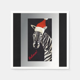 Believe! Christmas Zebra with Red Santa Hat Disposable Napkin
