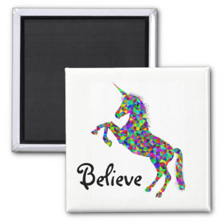 Believe Colorful Rearing Unicorn Magnet