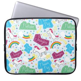 Believe, Dream Big, Imagine Unicorn Laptop Sleeve