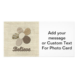BELIEVE Fabric Flower Collage Picture Card