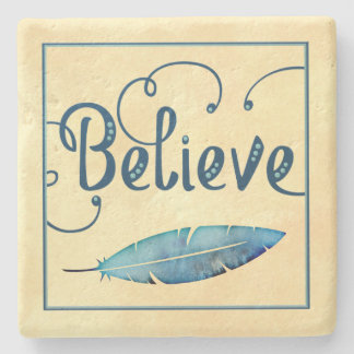 Believe Feather Watercolor Fancy Typography Stone Coaster