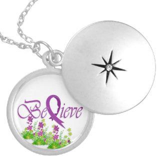 """Believe """"Flower-Necklace-CareGiver"""" Round Locket Necklace"""