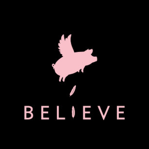 Believe-Flying Pig Feathers Tote Bag f1559c39a68f9
