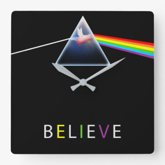 BELIEVE-flying pig in prism Square Wall Clock