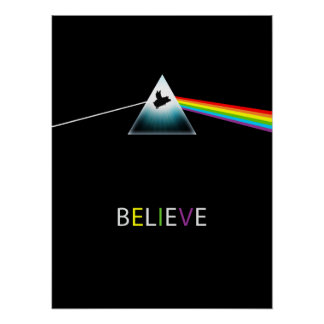 Believe-Flying Pig Prism Design Poster