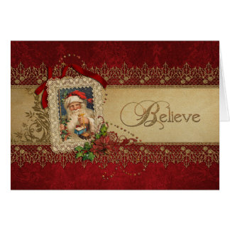 Believe Gold and Red Damask Vintage Christmas Card