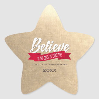 Believe. Gold Foil Custom Christmas Stickers