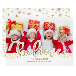 Believe Gold Foil Effect Christmas Holiday Photo 11 Cm X 16 Cm Invitation Card