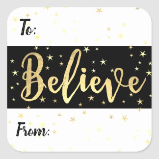 Believe Gold Stars Christmas Custom Gift Tag Label