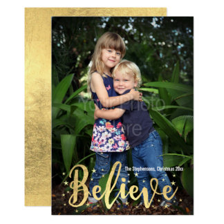 Believe Gold Writing Christmas Photo Greeting Card