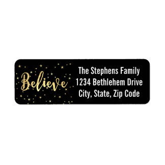 Believe Gold Writing Christmas Return Address Return Address Label
