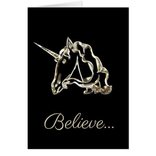 Believe Golden Unicorn Custom Text Black Gold Card