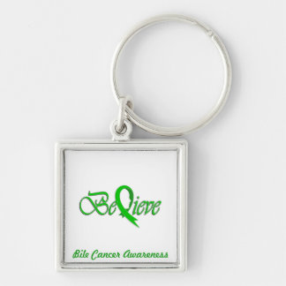 """""""Believe"""" Green Ribbon Collection Silver-Colored Square Key Ring"""