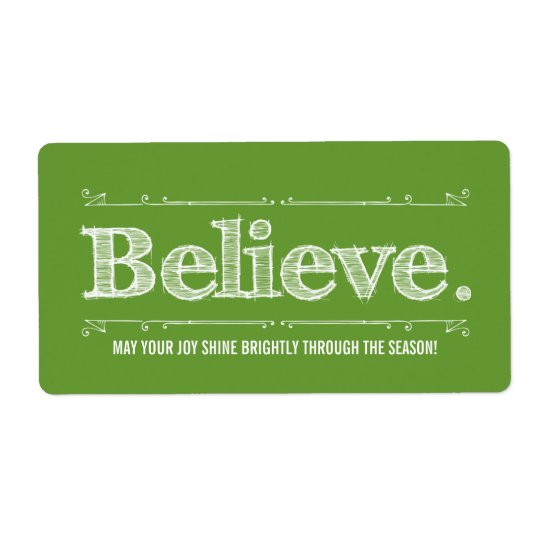 Believe Holiday Homemade Craft or Gift Label Shipping Label