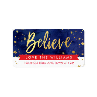 BELIEVE HOLIDAY magical christmas gold red navy Address Label