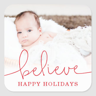 Believe Holiday Photo Square Sticker
