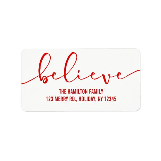 Believe HOLIDAY RED Hand Lettered Script Label