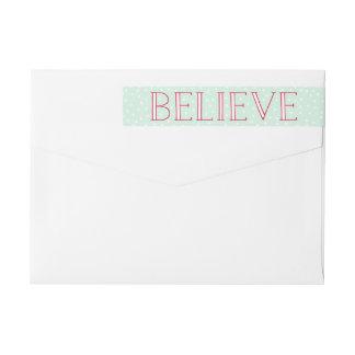 Believe | Holiday Return Address Labels Wraparound Return Address Label
