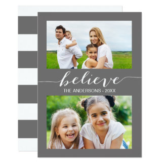 Believe   Holiday Two Photo Card Gray 13 Cm X 18 Cm Invitation Card
