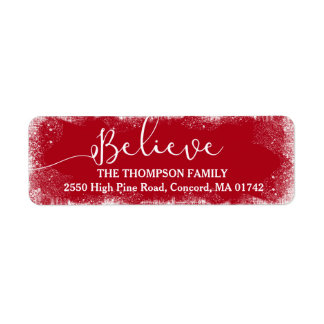 Believe in Christmas Rustic Snow Merry Red Custom Return Address Label