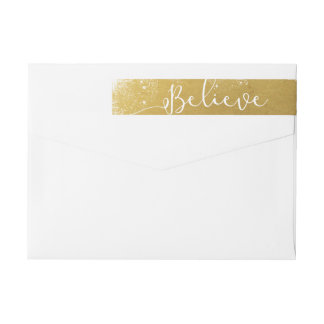 Believe in Christmas Vintage Gold Snowy Wrap Around Label