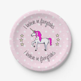 Believe in fairytales unicorn cartoon pink girl 7 inch paper plate