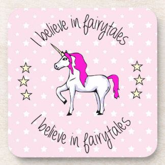 Believe in fairytales unicorn pink girl coaster