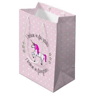 Believe in fairytales unicorn pink girl medium gift bag