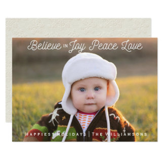 Believe in Joy Peace Love Christmas Holiday Photo Card
