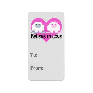 Believe in Love! Cute Yetis Address Label