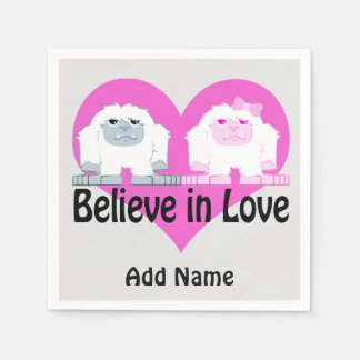 Believe in Love! Cute Yetis Disposable Napkin