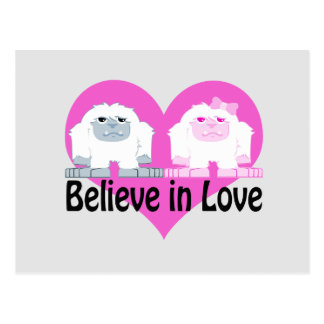 Believe in Love! Cute Yetis Postcard