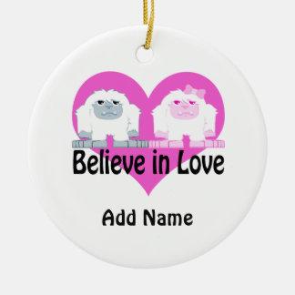 Believe in Love! Cute Yetis Round Ceramic Decoration