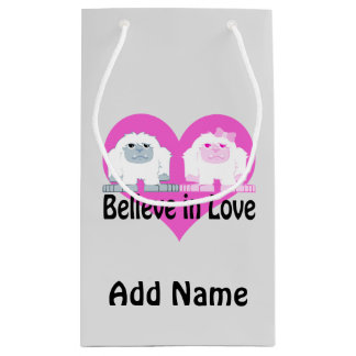Believe in Love! Cute Yetis Small Gift Bag