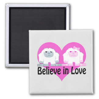 Believe in Love! Cute Yetis Square Magnet