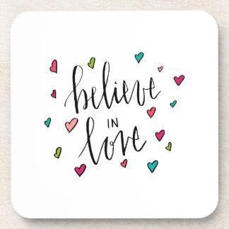 Believe In Love - Heart Print Beverage Coaster