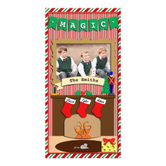 Believe in Magic • Christmas Spirit • 3 Stocking Photo Card Template