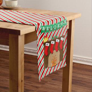 Believe in Magic Night Before Christmas 4 Stocking Short Table Runner