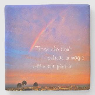"""Believe in Magic"" Quote Rainbow Sunrise Photo Stone Coaster"