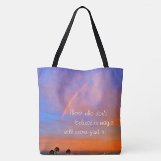 """Believe in magic"" quote rainbow sunrise photo Tote Bag"