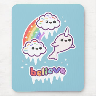 Believe in Narwhals Mouse Pad