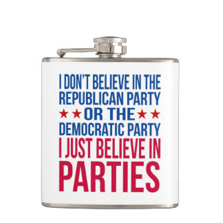 Believe in Parties | Funny Political Blue & Red Hip Flask