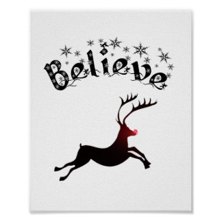 Believe in Reindeer print